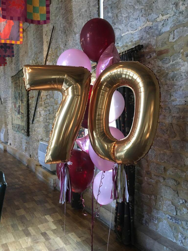70th birthday banging bunches balloon Airmagination at Spread Eagle Hotel and Spa in Midhurst West
