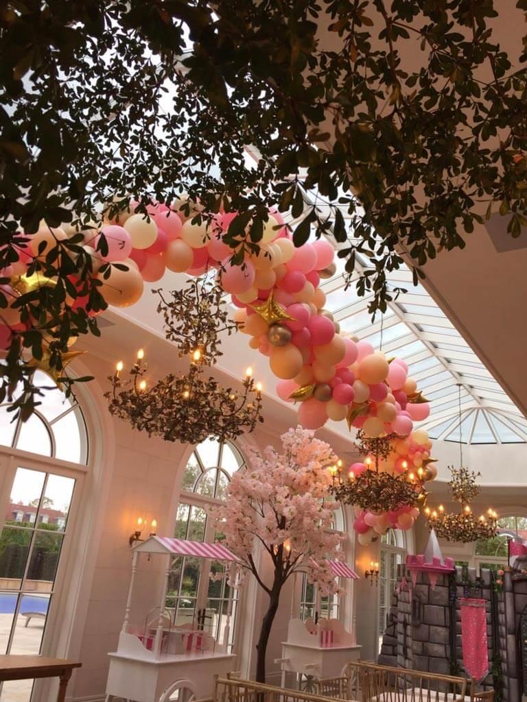 Birthday party organic ceiling garland Airmagination Surrey 1