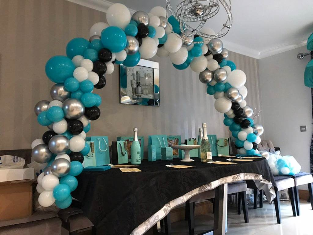 Courtney Smith organic cake table balloon arch Tiffany style Airmagination