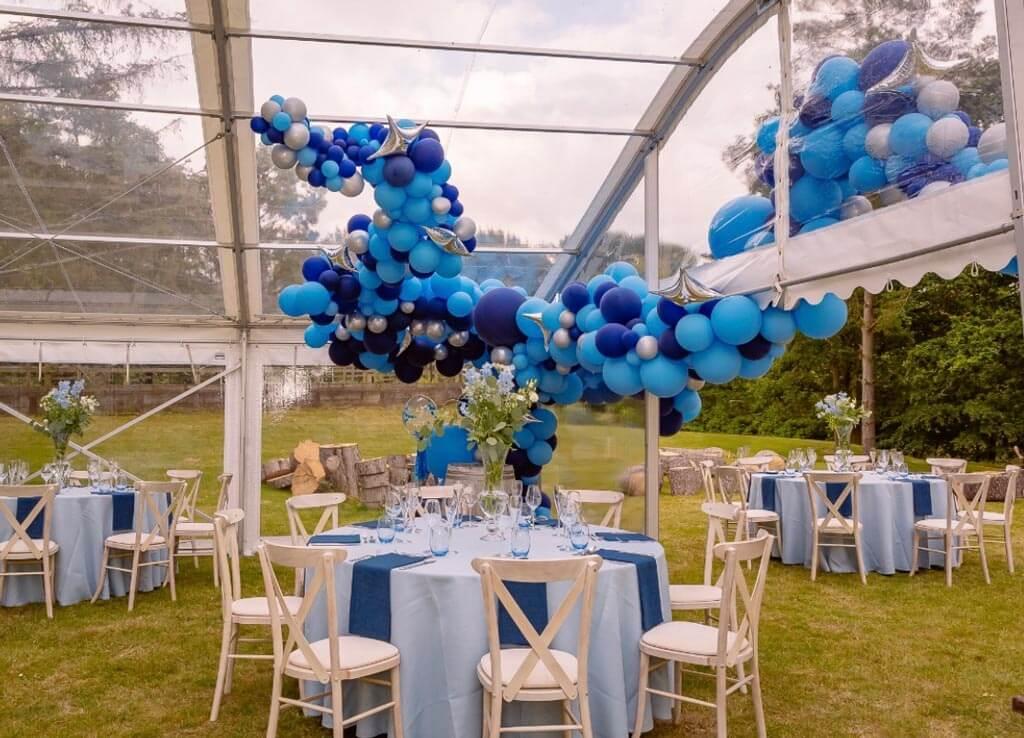 Marquee garden party organic balloon installation Airmagination Sussex 3
