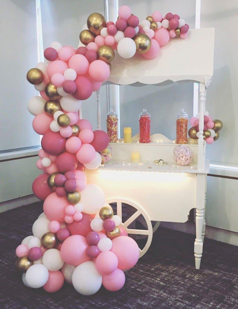 Nieces Treats sweet cart organic balloon installation