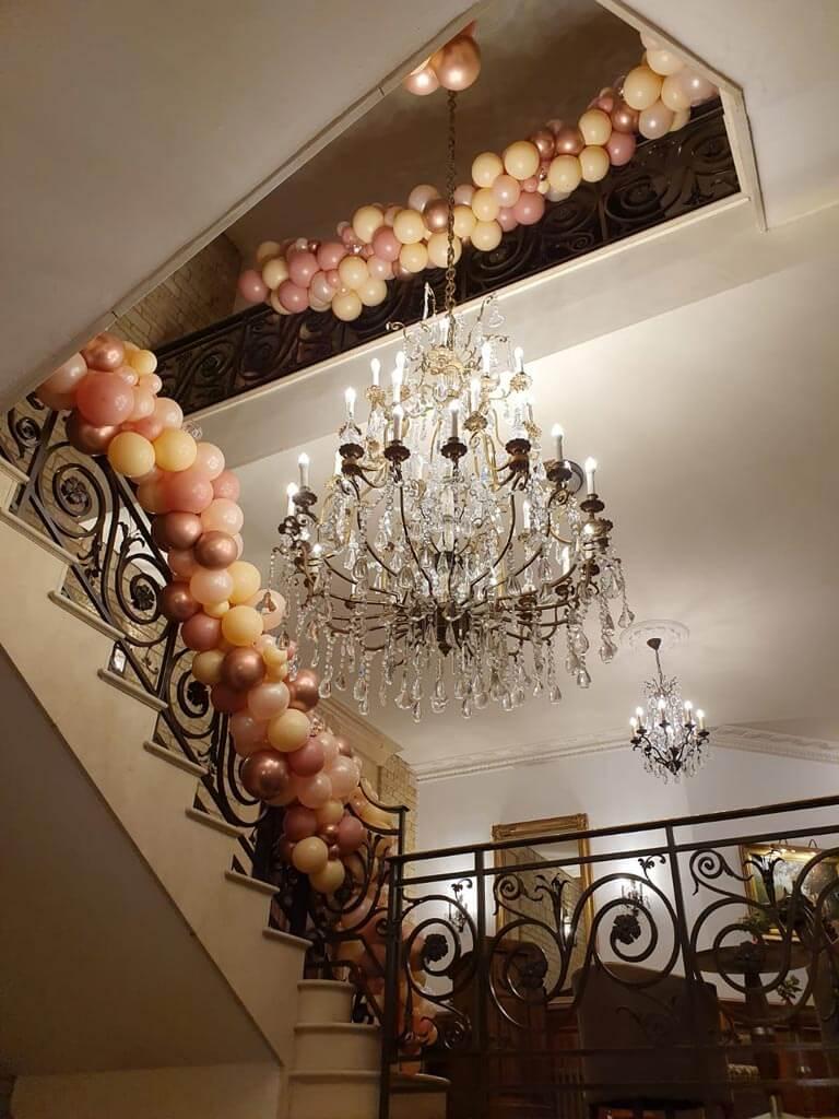 Pennyhill Park organic balloon staircase garland Airmagination Surrey 4