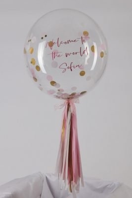 Personalised Baby Pink White Gold Confetti Bubble Balloon handmade tassle tail