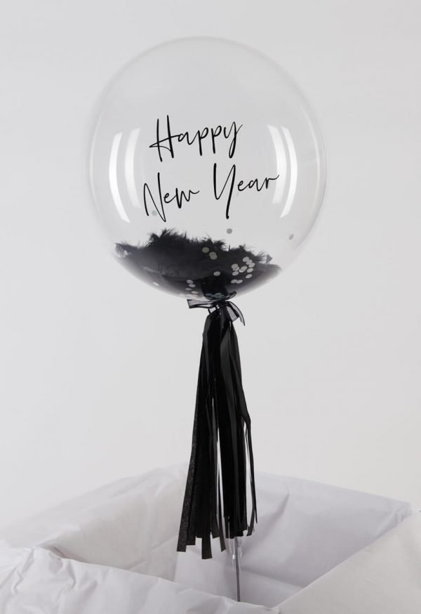 Personalised Black Feather Bubble Balloon with handmade tassel tail