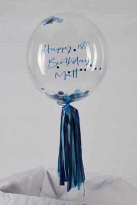 Personalised Blue Confetti Bubble Balloon handmade tassel tail