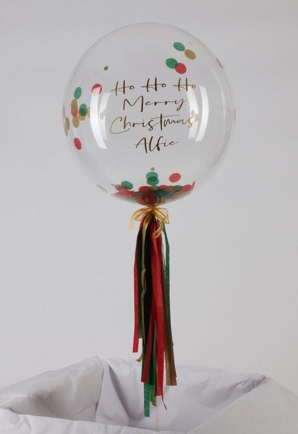 Personalised-Christmas Confetti Bubble Balloon handmade tassel tail Airmagination