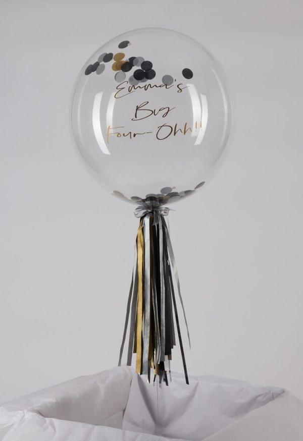 Personalised Hollywood Glam Black and Gold Confetti Bubble Balloon handmade tassel tail