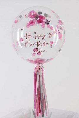 Personalised Pink Confetti Bubble Balloon handmade tassel tail