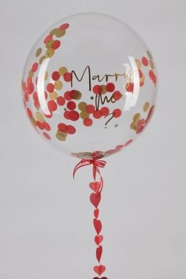 Personalised Red and Gold Confetti Bubble Balloon handmade heart tail