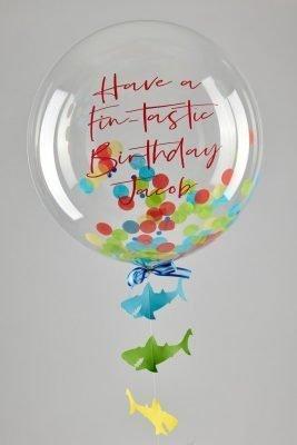 Personalised Shark Confetti Bubble Balloon handmade shark tail