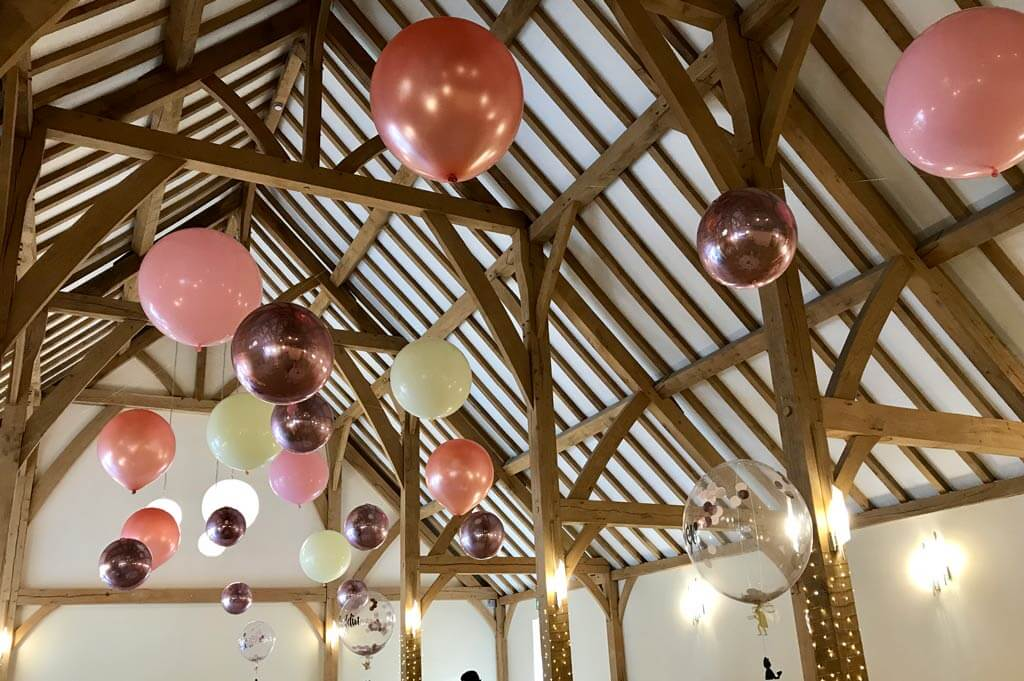 Rivervale Barn suspended balloon ceiling wedding venue Airmagination Yateley Hampshire 1