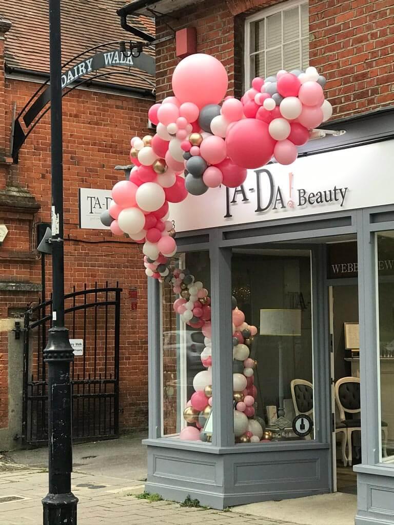 Ta Da Beauty Therapists 1 year celebration organic balloon installation Airmagination Hartley Wintney Hampshire 1 1