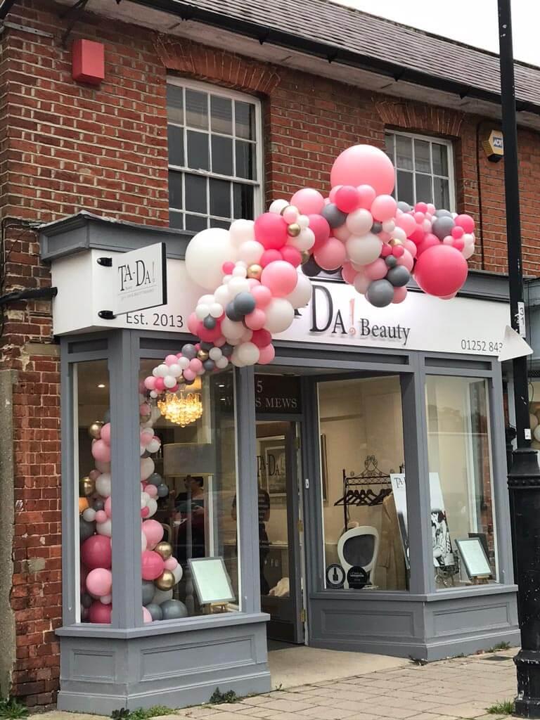 Ta Da Beauty Therapists 1 year celebration organic balloon installation Airmagination Hartley Wintney Hampshire 2