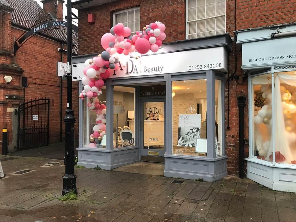 Ta Da Beauty Therapists 1 year celebration organic balloon installation Airmagination Hartley Wintney Hampshire 3