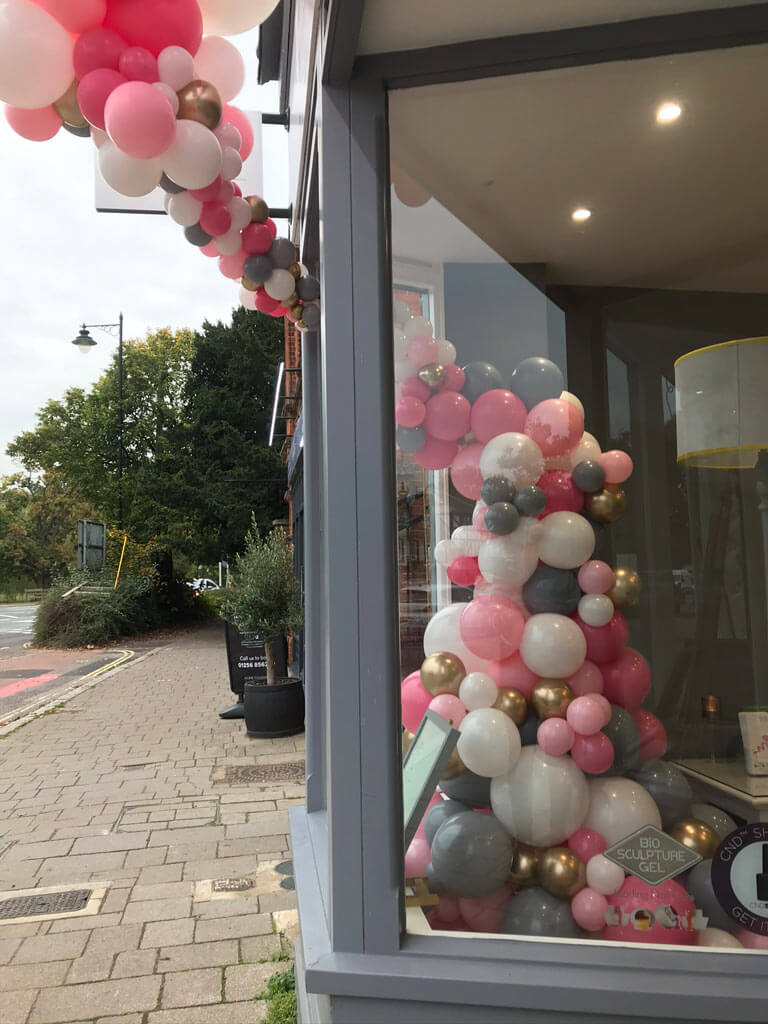 Ta Da Beauty Therapists 1 year celebration organic balloon installation Airmagination Hartley Wintney Hampshire 4