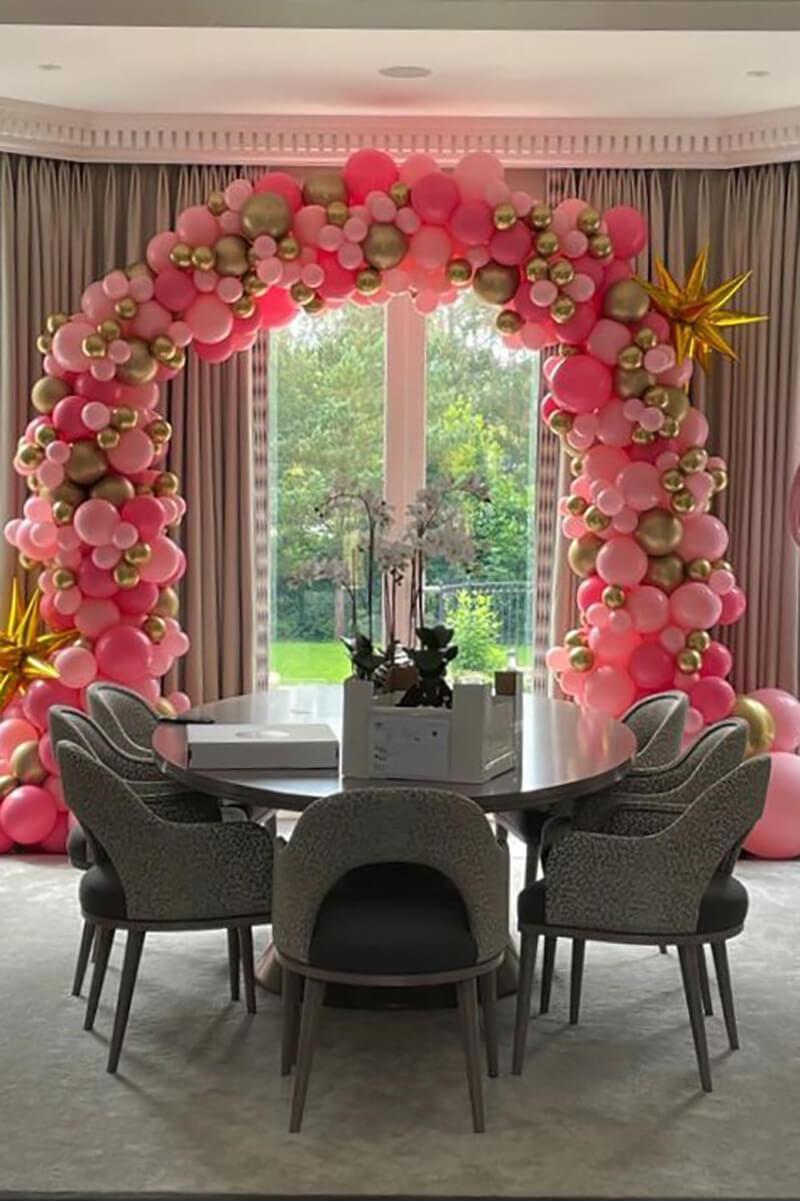 full organic pink balloon arch