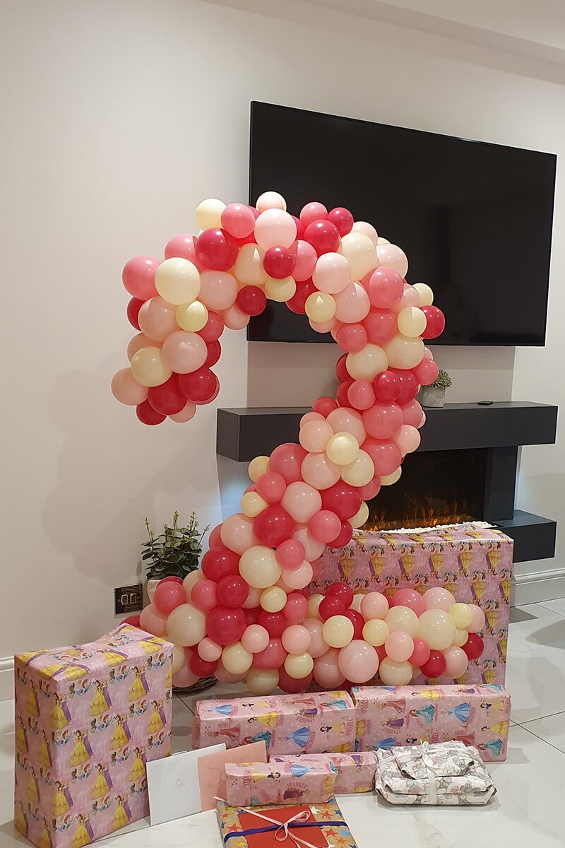 Number 2 organic balloon sculpture compressed