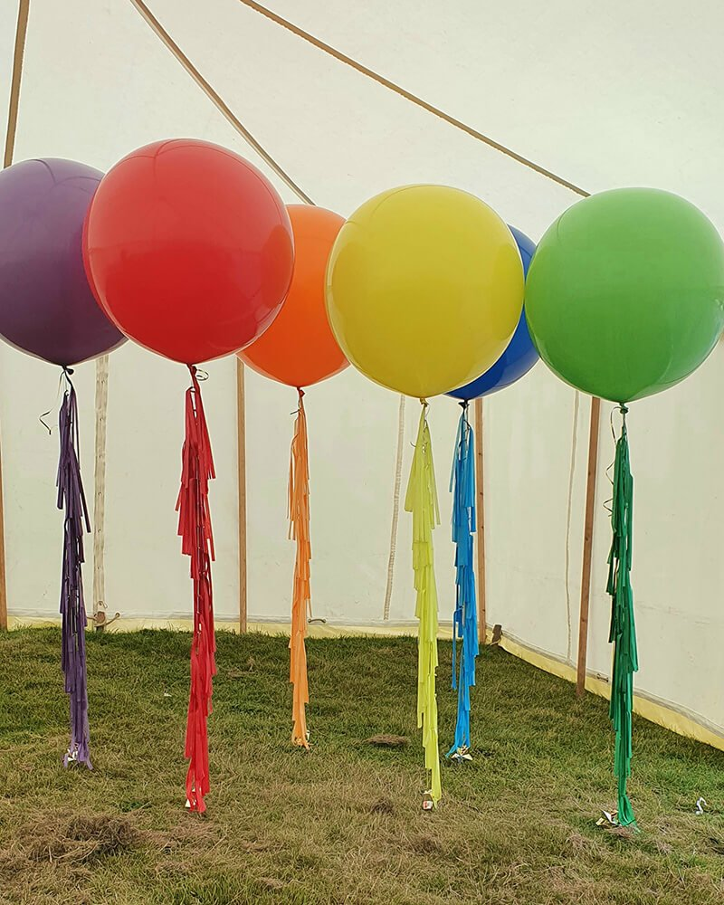 colourful giant balloons with tassel tails